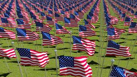 Many flags of USA on flagpoles waving in the wind in green field. View from above. Three dimensional rendering illustration Stock Images