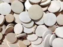 Many flat wooden rounds that can be used as texture or background stock photography