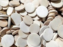 Many flat wooden rounds that can be used as texture or background stock images