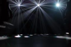 Many flood lights illuminating an empty stage. Many lights illuminating empty stage royalty free stock image