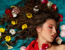 Many flowers in her hair Royalty Free Stock Photo