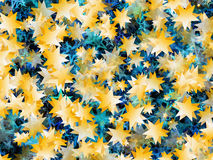 Many flying gold and blue stars backgrounds Royalty Free Stock Image