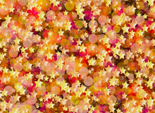Many flying gold stars and rounds bokeh backgrounds Stock Photography