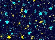 Many flying stars on blue background Royalty Free Stock Photo