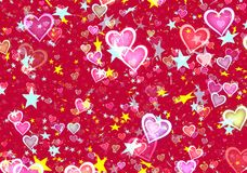 Many flying stars and hearts. Holiday backgrounds Royalty Free Stock Images