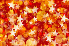 Many flying stars, rounds and hearts. Holiday background Royalty Free Stock Photography