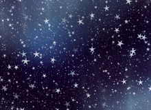 Many flying stars on a sky backgrounds Stock Images