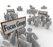 Many Focus Groups People Meeting Signs Niche Customers. Many groups of customers representing several distinct demographics gathered in meetings around signs Stock Photos