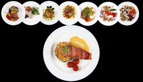 Many food plates Stock Photography