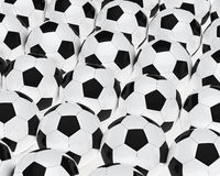Many footballs. Many soccer footballs be in a series Stock Image