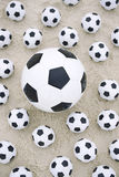 Many Footballs Soccer Balls Different Sizes Beach Sand Stock Photos