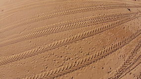 Many Footprints on Beach. Aerial view from quadcopter stock video footage