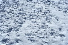 Many footprints in the snow. Background ? many footprints in the snow stock photography