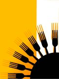 Many forks. On abstract background Royalty Free Stock Photography