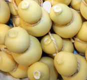 Many forms of caciocavallo cheese sale in Italian market Royalty Free Stock Images