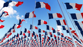 Many France Flags flying against clean sky. Stock Image