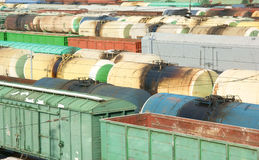 Many freight wagons Stock Images