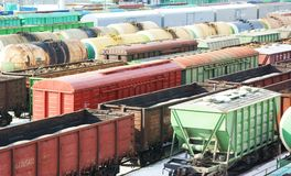 Many freight wagons Royalty Free Stock Photography