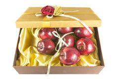 Many fresh apples in give box. Many fresh apples in luxury give box Royalty Free Stock Images