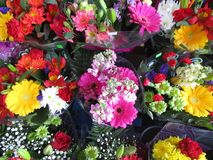Many fresh attractive colorful flower bouquets at the flower shop. In town, Canada royalty free stock photos