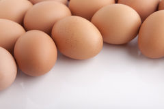 Many fresh brown eggs Stock Photo