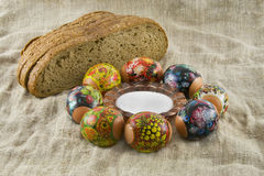 Many fresh easter rural decorated eggs Royalty Free Stock Photo