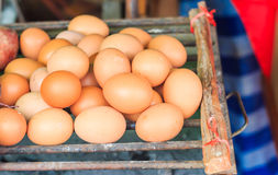 Many fresh eggs. On the grill Stock Image