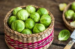Brussels Sprouts in a Basket. Many Fresh Green Brussels Sprouts in a Basket Royalty Free Stock Photo