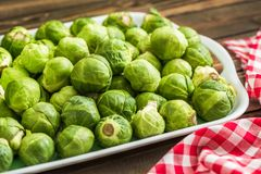 Many Fresh Green Brussels Sprouts. On a Tray Stock Image