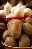 Many fresh potatos on market Royalty Free Stock Image