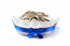 Many fresh, raw shrimp Royalty Free Stock Photos