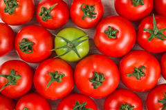 Many fresh red tomatoes, one green, background top view Stock Photography