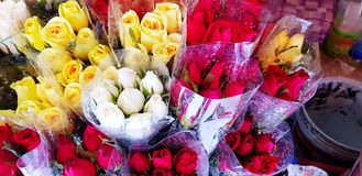 Many fresh red, yellow and white rose for sale on street market royalty free stock photos