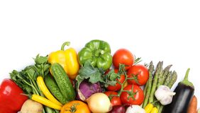 Many fresh ripe vegetables on white background. Top view. Space for text stock photography