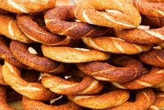 Many fresh Turkish bagels Stock Photography
