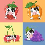 Many fruit milk dairy cow very cute. stock illustration