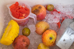 Many fruits on ice for sale Stock Image