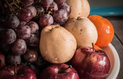 Many fruits on tray Royalty Free Stock Images