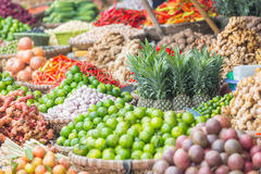 Many fruits and vegetables on a market in Hanoi, Vietnam Royalty Free Stock Photography