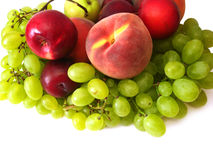 Many fruits on white Stock Images
