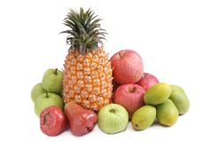 Many of the  fruits on white background Royalty Free Stock Photos