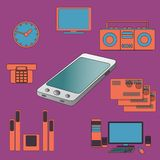 Many functions carries a modern mobile phone. Royalty Free Stock Photos