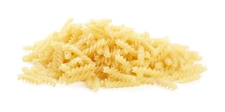 Many fusilli pasta isolated on white Royalty Free Stock Photography
