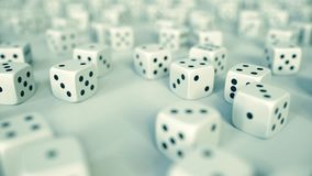 Many gambling dices. Casino or chance related 3D rendering. Many gambling dices. Casino or chance related 3D royalty free illustration