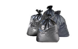 Many garbage bag on white background. S stock image