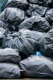 Many garbage bags overlap of each other. And a bad smell Stock Image