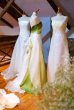 Bride dresses. Many garments colored from spouse in the specialistic store Stock Photos