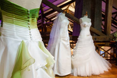 Bride dresses. Many garments colored from spouse in the specialistic store Stock Images