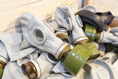 Many gas masks in a chest Royalty Free Stock Photo