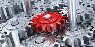 Many gear and red gear Stock Photography